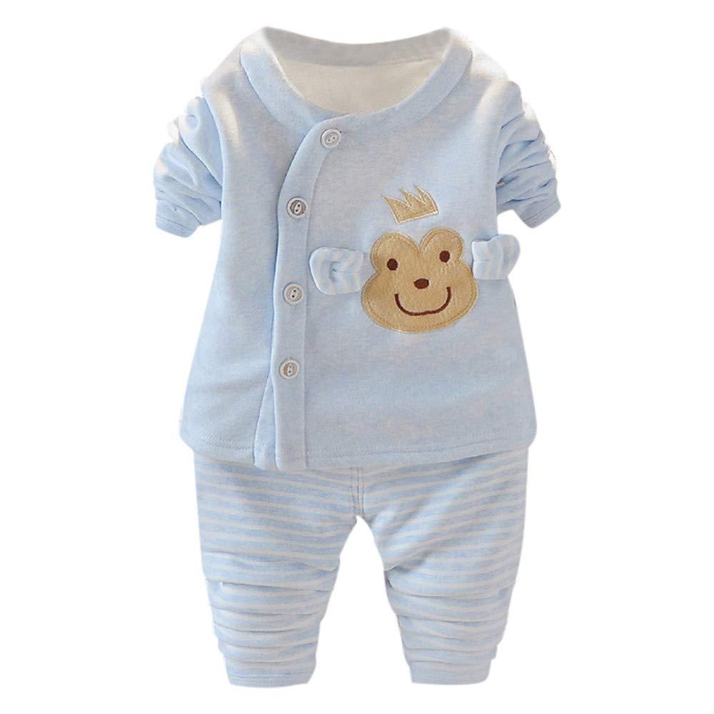 Conjunto de Dormir Bebés, LANSKIRT Recién Nacido Bebé Niñas Niños Manga Larga Impresión de Dibujos Animados Tops + Pantalones Ropa de Dormir Trajes: ...