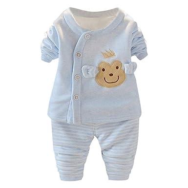 581edfcec1b62 Robemon✬Hiver Ensemble Bébé Fille Garçon sous-vêtements Vêtements Dessin  animé Top Boutons Grenouille