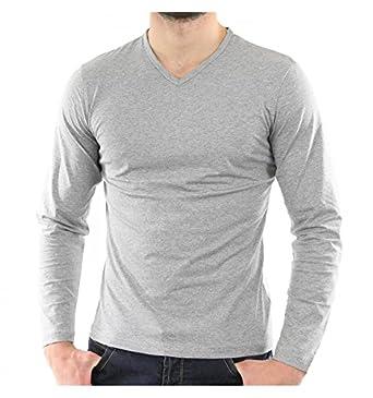 b4b5c4b09679 V-Neck Full Sleeve Grey Melange T-Shirt: Amazon.in: Clothing & Accessories