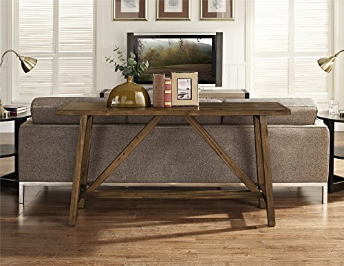 Ameriwood Home Altra Furniture Bennington Wood Side Table with Sawhorse Legs, Rugged Rustic Finish