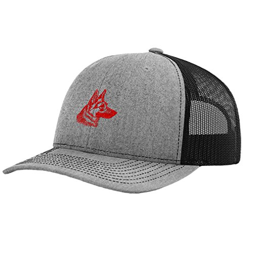 Speedy Pros Red German Shepherd Head Embroidery Richardson Structured Front Mesh Back Cap Heather (German Shepherd Hat)