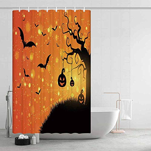 Halloween Ultra Soft Shower Curtain,Magical Fantastic Evil Night Icons Swirled Branches Haunted Forest Hill Decorative for Adults Teens,47.24