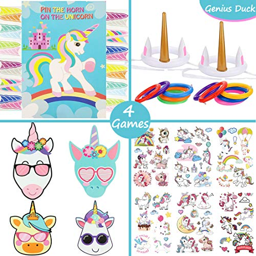 Genius Duck Unicorn Party Games Set - Perfect for Outdoor and Indoor Games Event - Take Your Unicorn Party to the Next Level, Suitable for Both Kids and Adults - Birthday parties, Classroom Activities, Pool Parties, etc. (Birthday Party Games For 4 Year Olds Indoors)