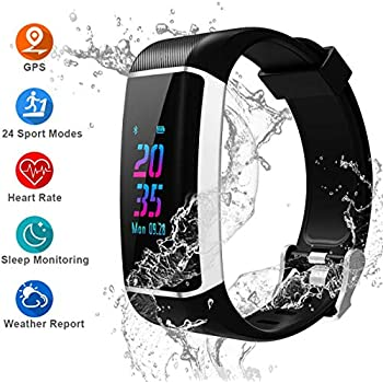YOUNGDO GPS Fitness Tracker HR, 24 Sports Modes Color Screen Activity Tracker with Heart Rate Monitor, Built-in GPS, Waterproof Smart Wristband, ...