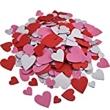 #7: Willbond 500 Pieces Valentine's Day Foam Hearts Pack Foam Heart Stickers Self Adhesive Foam Hearts for DIY Crafts, Assorted Size, 3 Color (Red, Pink, White)