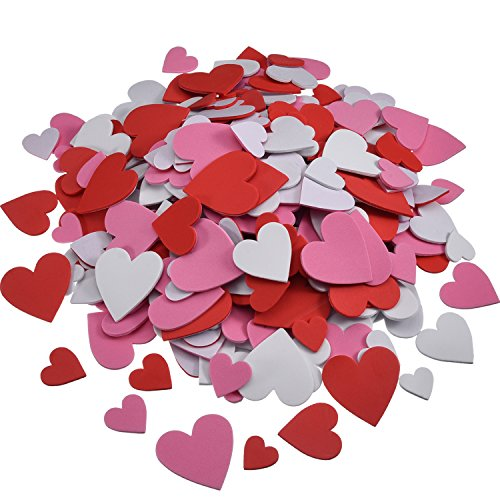 Willbond 500 Pieces Mother's Day Foam Hearts Pack Foam Heart