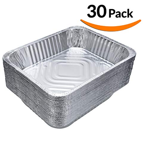 DOBI (30-Pack) Chafing Pans - Disposable Aluminum Foil Steam Table Deep Pans, Half Size - 9'' x 13'' by DOBI