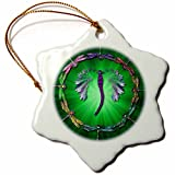 3dRose orn_50290_1 Dragonfly Dance Snowflake Porcelain Ornament, 3-Inch