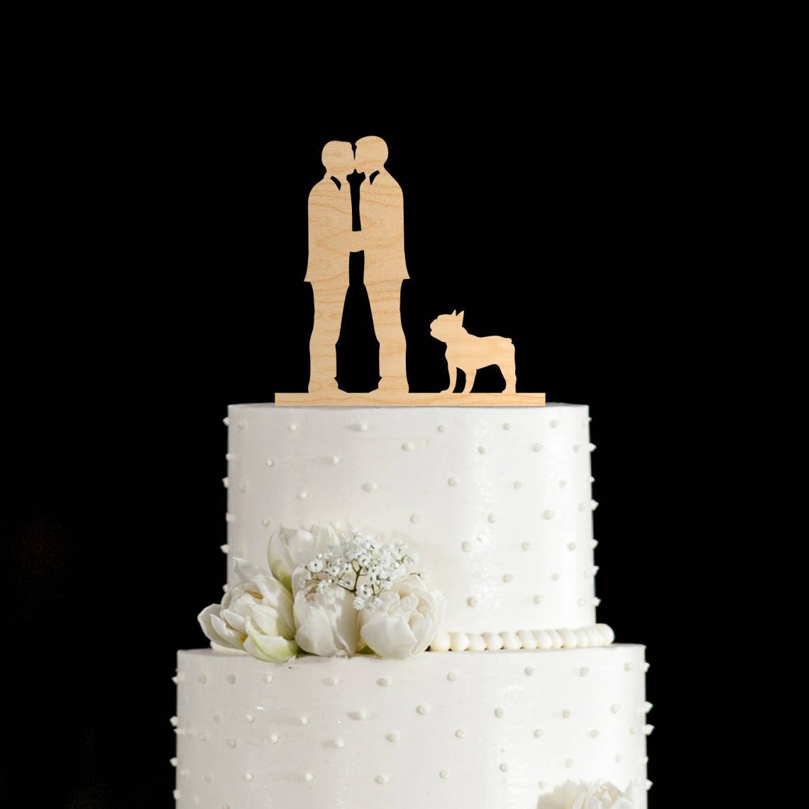 Susie85Electra Gay Wedding Cake Toppers with French Bulldog,Wedding Cake Toppers Rustic Wood,Country Wedding Decor