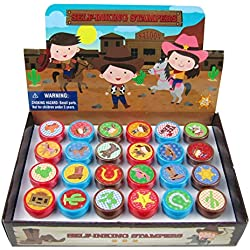 TINYMILLS 24 Pcs Western Cowboy Cowgirl Stampers for Kids