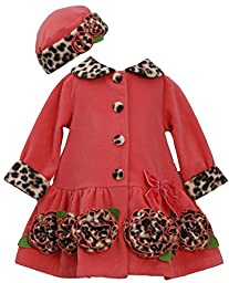 Bonnie Baby Girls\' Coral Fleece with Leopard Trim Coat and Hat Set, Coral, 24 Months