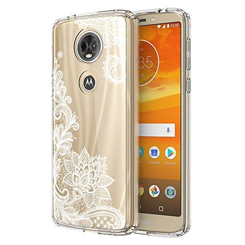 Moto E5 Plus Case, Moto E5 Supra Case, LEEGU Anti-Scratch Shockproof Floral Printed Clear Hard Plastic and TPU Gel Bumper Protective Cover Slim Phone Case for Moto E5 Plus - White Lace
