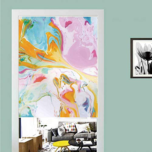 3D printed Magic Stickers Door Curtain,Apartment Decor,Psychedelic Digital Interlace Wavy Formless Splashes Contemporary Illustration,Multi ,Privacy Protect for Kitchen,Bathroom,Bedroom(1 Panel)