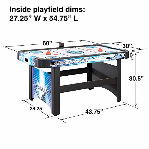 Hathaway Face-Off 5-Foot Air Hockey Game Table for Family Game Rooms with Electronic Scoring, Free Pucks & Strikers