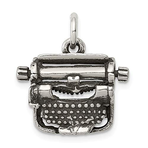 925 Sterling Silver Typewriter Pendant Charm Necklace Career Professional Office Fine Jewelry Gifts For Women For Her