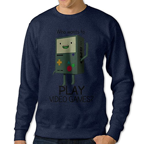 Men's Adventure Time BMO Who Wants To Play Video Games Round Collar Pullover HoodiesNavy Size (Hardcore Wrestling Game)