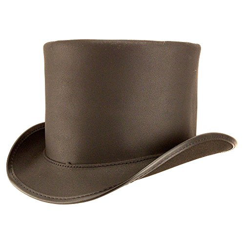 American Hat Makers Topper-Unbanded by Voodoo Hatter Leather Top Hat, Black Finished-Unbanded - Small by American Hat Makers