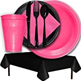 Plastic Party Supplies for 50 Guests - Hot Pink and Black - Dinner Plates, Dessert Plates, Cups, Lunch Napkins, Cutlery, and Tablecloths - Premium Quality Tableware Set