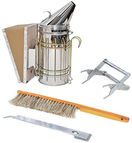 Beekeeping Starter Tool Kit Set of 4 with Bee Hive Smoker, Brush, Frame Grip, and Stainless Steel J-Hook Lifter Equipment by VIVO (Hive Kit)
