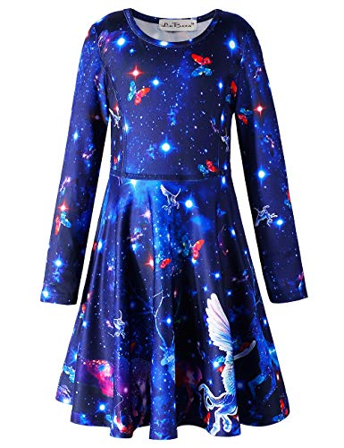 LaBeca Girls Galaxy Printed Xmas Birthday Party Dress Galaxy Fall XXL -