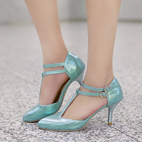 Carol Shoes Chic Womens Buckle T-straps Shiny Sweet Pointed Toe High Stiletto Heel Sandals Blue rrKP8W8N