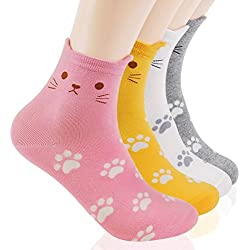 DearMy Womens Cute Animal Kitten kitty Cat Design Causual Cotton Socks (Small fooot Cat 4 Pairs)