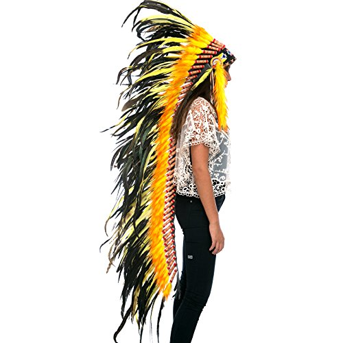 Extra Long Feather Headdress- Native American Indian Inspired- Handmade by Artisan Halloween Costume for Men Women with Real Feathers - Yellow - India Films