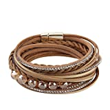 Jenia Beige Women's Leather Braided Bracelet - Casual Rope Wrap Bangle Cuff Wristband with Crystal and Rhinestone for Girl, female, Teens Birthday Gift