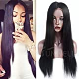 Human Hair Wigs for Black Women, Sunwell Glueless Virgin Brazilian Human Hair Full Lace Wigs with Baby Hair Silky Straight 130% Density Natural Color 16''