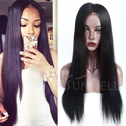 Human Hair Wigs for Black Women, Sunwell Glueless Virgin Brazilian Human Hair Full Lace Wigs with Baby Hair Silky Straight 130% Density Natural Color 16'' by SUNWELL