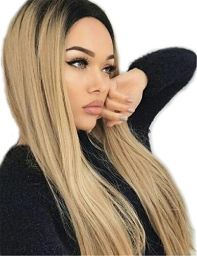 Black And Blonde Wig (Fani Long Straight Blonde Wig Black Roots Ombre Wigs Full Wigs Heat Resistant Synthetic Wigs Party Wigs for Women)