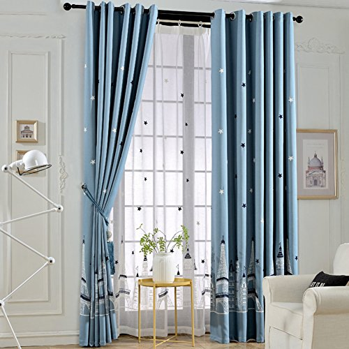 LIANGLAOI Curtain Living Room,Embroidery Children's Room Castle Full Shade Bedroom 1 Piece-A 200x200cm(79x79inch) ()