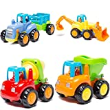 LIDODO Friction Powered Cars Push Go Car Construction Vehicles Toys Set of 4 Toddlers - Dump Truck, Cement Mixer, Bulldozer, Tractor Back Cartoon Play Kids car toys