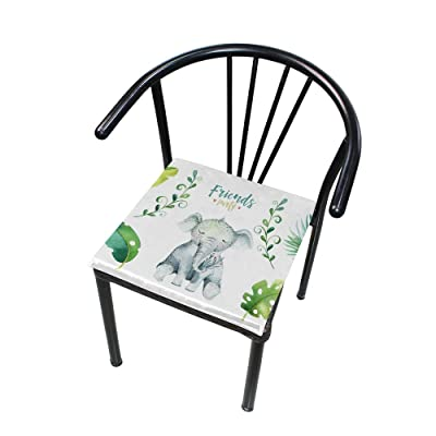 "Bardic HNTGHX Outdoor/Indoor Chair Cushion Elephant Tropical Leaf Square Memory Foam Seat Pads Cushion for Patio Dining, 16"" x 16"": Home & Kitchen"