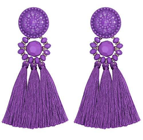 Beaded Purple Chandelier - Vesungime Bohemian Statement Thread Tassel Earrings - Chandelier Drop Dangle Cassandra Long Stud Earrings(12 colors available)(Purple)
