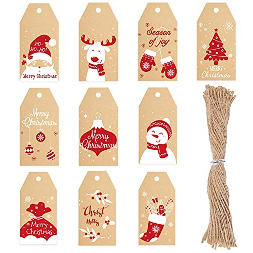 Starrky Christmas Tags, 100PCS Merry Christmas Paper Tags 10Styles Xmas Present Tags DIY Name Cards for Christmas Decoration Xmas Gift Wrap Package Name Cards