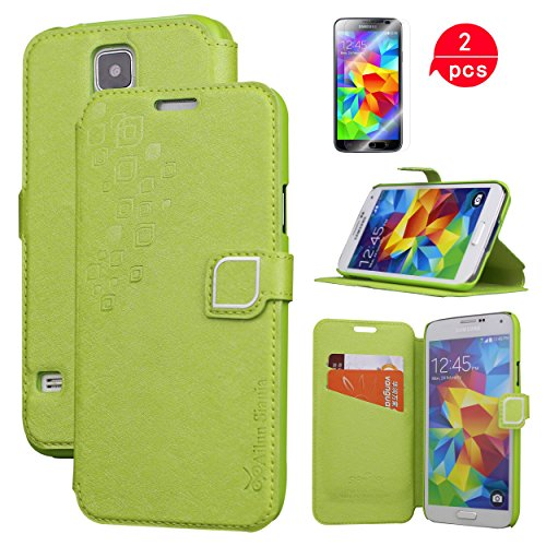 galaxy s5 case,by Aliun,wallet case,Card holder Case,stand feature case,Galaxy i9600 case,with Two Screen Protector[Green]