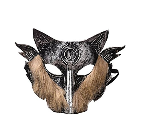 C&L Half Face Samurai Wolf Head Cosplay Mask Halloween Party Mask (Gray)