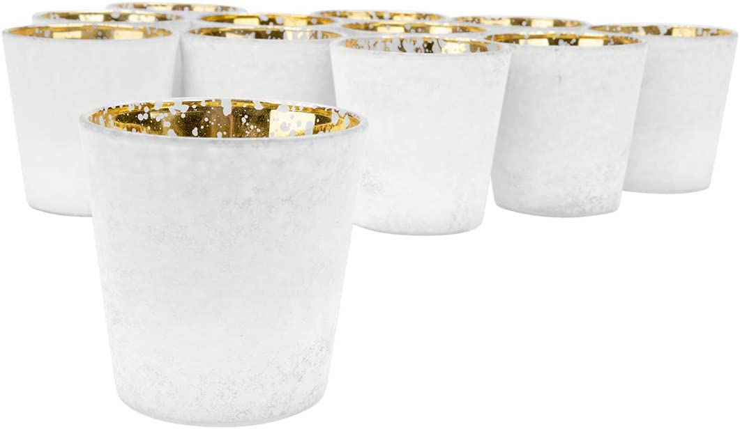 "Koyal Wholesale 3"" Tall White Frosted Ombre Mercury Glass Votive Candle Holders, Set of 12, Bulk Tealight Holders, Tablescapes, Wedding, Home Decor, Office, Restaurant, Table Setting Decorations"
