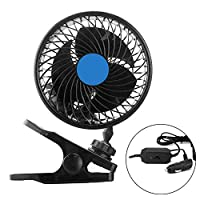 Electric Car Fan, 12V Car Cooling Fan Dual Head 2 Speed Air Circulator Quiet Ventilation 360 Degree Rotatable Auto Fan with Adjustable Clip/Cigarette Lighter Plug for Home Boat/Vehicles(Latest)