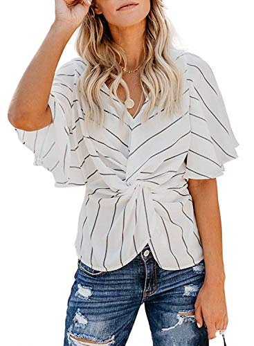 Striped Shirt Women, Misyula Ladies Short Flutter Sleeve V-Neck T-Shirt Gorgeous Ruffled Knotted Striped Tunic Tops Junior Summer Travelling Working Fiesta Tees Lightweight Fromfitting Attire XL