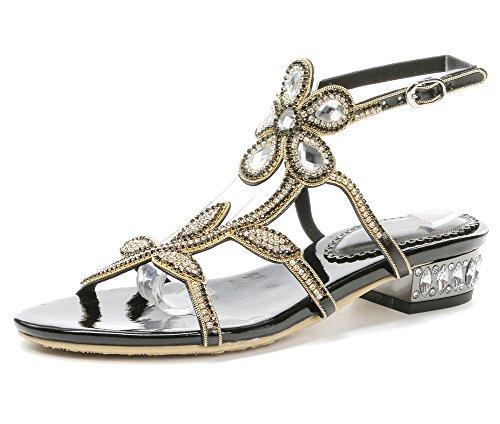 Diamante Plano Bohemia De Nvxie Playa Chancletas Sandalias T Señoras Zapatos Verano Flor Imitación Dulce En Mujer Negro Correa 1z17qwr86