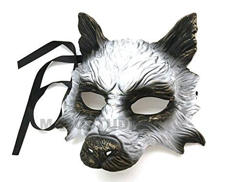 MasqStudio Gold White Wolf Mask Animal Masquerade Halloween Costume Cosplay Party mask]()