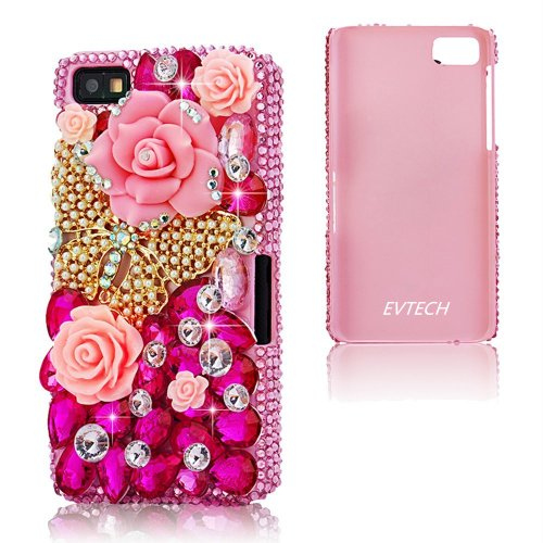 EVTECH(TM) 3D Handmade Crystal Butterfly Rhinestone Dimond Disign Case Pink Cover for Blackberry Z10 (100% Handcrafted) (rose)