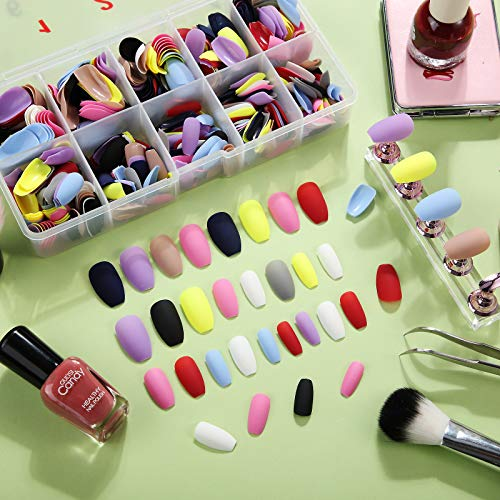 600 Pieces Short Square Matte False Nails Ballerina Coffin Press on Nails Artificial Full Cover Coffin Nails Colorful Fake Fingernail Tip Kit with Storage Box for Nail Decorations, 10 Colors
