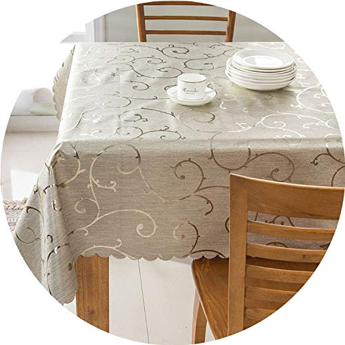 PVC Oilproof Tablecloth Waterproof Table Cloth for Dining Table Rectangle Table Cover Round Tablecloths,G,120120cm (For Christmas Decorators Hire)