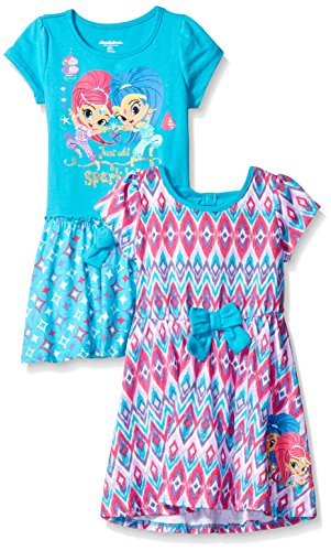 Nickelodeon Girls' Little Shimmer and Shine 2 Pack Dress, Pink/Teal, 3t]()