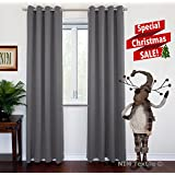 """NIM Textile Grommet Curtains Thermal Insulated Blackout Drapes, 110""""W x 84""""L, 2-Panels Set, Dark Gray, Sofiter Collection"""