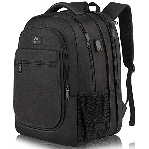 Travel Backpack for Men, Expandable Laptop Backpack with USB Charging Port, Large Anti Theft Business Computer Bag Water Resistant College School Bookbag Gift for Men Women Fit 15.6 Inch laptop, Black