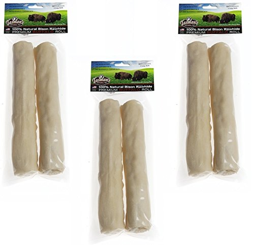 (3 Pack) All-Natural Buffalo Rawhide Rolls, Large, 2 Rolls each (Rawhide Ii)